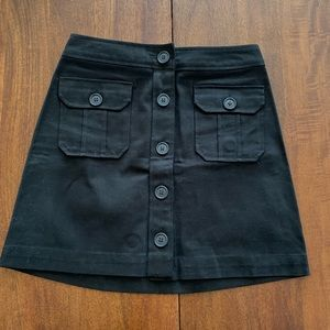 Gap vintage mini black button down skirt 0 NWT